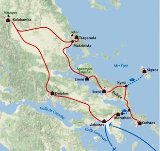 Carte Eubée, Skyros, Pelion, Météores, entre mer et montagne