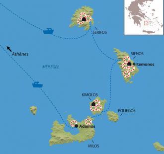 Carte Les Cyclades - Milos, Kimolos, Sifnos et Serifos