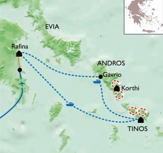 Carte De l'Acropole aux Cyclades