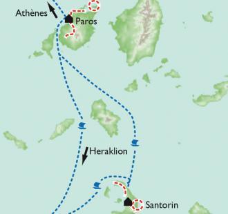 Carte Les Cyclades - Paros et Santorin, duo en bleu et blanc