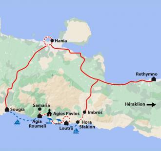 Carte Crète, trek et baignades en famille