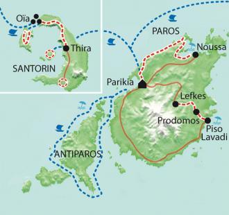 Carte Les Cyclades - Antiparos, Paros, Santorini... et les enfants !!!