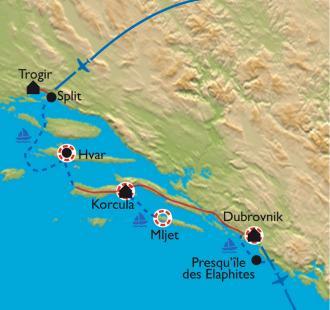 Carte Les îles et la côte dalmate