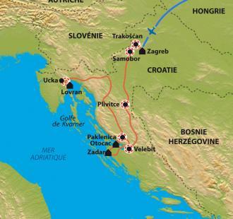 Carte Les plus beaux parcs nationaux de l'Adriatique nord et le golfe de Kvarner