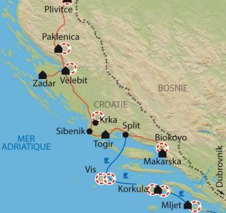 Carte Parcs et îles de Croatie