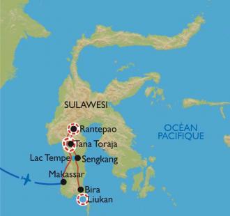 Carte Sulawesi, à la rencontre des Torajas