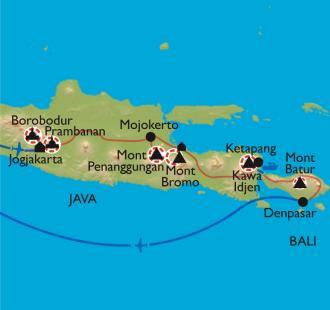 Carte Temples et volcans de Java