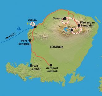 Carte Du Rinjani aux plages de Gili