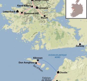 Carte Connemara et îles d'Aran