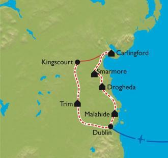 Carte Dublin et le Comté de Wicklow à vélo.