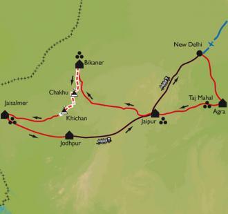 Carte Rajasthan, trek chez les Bishnoïs