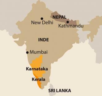 Carte VILLAGE WAYS,                   Karnataka/Kerala, de Hampi aux Backwaters