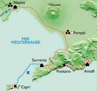 Carte Campanie,  Naples et la côte Amalfitaine