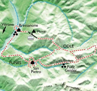 Carte Val di Funés, au coeur des Dolomites.