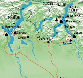 Carte Le lac Majeur et le lac de Côme