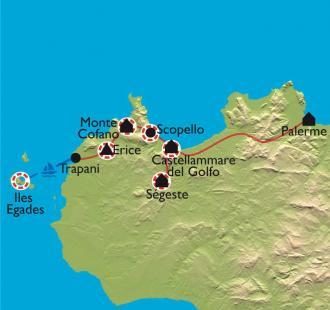 Carte Sicile, de Palerme aux îles Egades