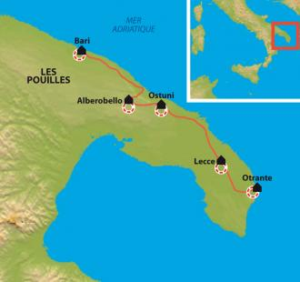 Carte Pouilles du sud : Des « trulli » d'Alberobello à la mer.