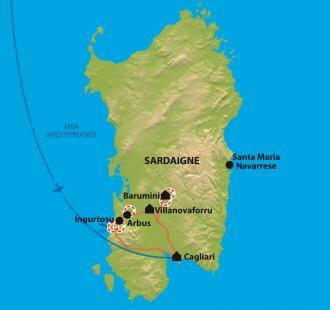 Carte Sardaigne, de la Giara de Gesturi aux plages de la Costa Verde