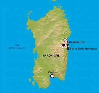 Carte Sardaigne, le trek du Selvaggio Blu