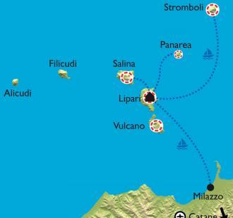 Carte Sicile, les îles Eoliennes