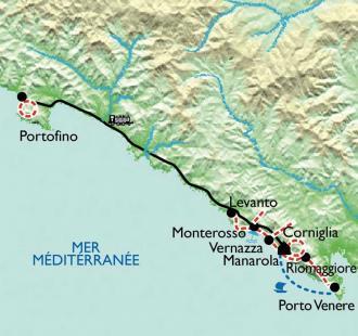 Carte Cinque Terre, entre ciel et mer, 5 jours