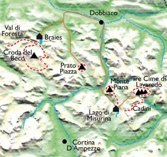 Carte Les Dolomites, de Dobbiaco à Cortina d'Ampezzo, en Hôtel 3***