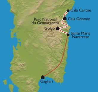 Carte Sardaigne avec le mythique et sauvage Selvaggio Blu