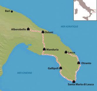 Carte Italie, les Pouilles à vélo