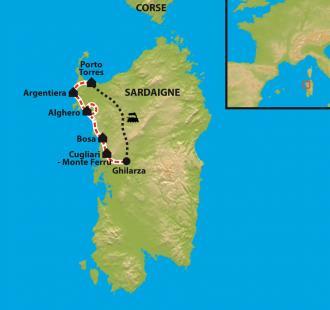 Carte La Sardaigne du Nord à VTC