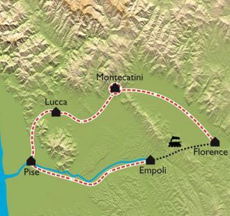 Carte Toscane à vélo, de Pise à Florence