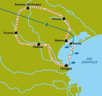 Carte Venise et Vénétie, découverte culturelle à vélo