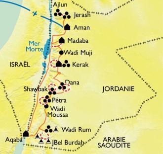 Carte Petra et le Wadi Rum