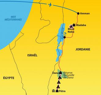 Carte 100 % trek entre Dana et Petra