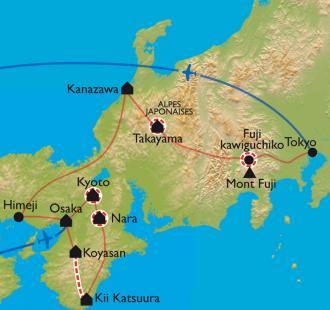 Carte Des chemins du Kumano Kodo au Mont Fuji - Spécial cerisiers en fleurs !