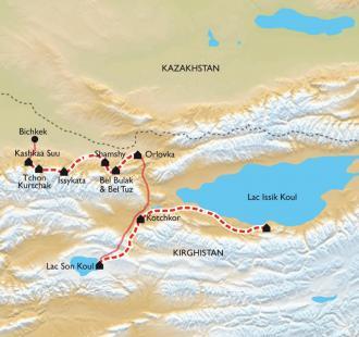 Carte Kirghizistan, sur les plus hauts plateaux du monde à vélo