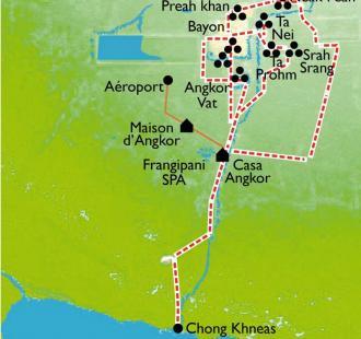 Carte Cambodge, extension Angkor
