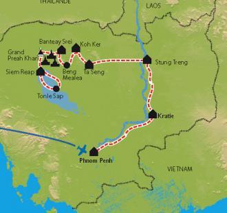 Carte Cambodge, entre Mékong et Angkor à vélo