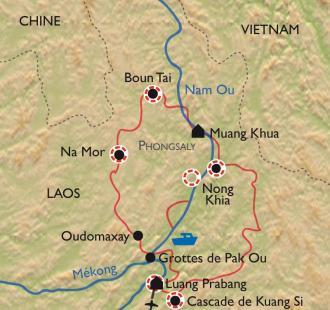 Carte Luang Prabang, trek et Mekong