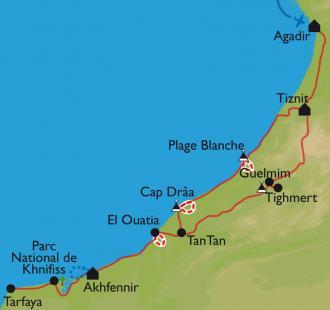 Carte Cap Draa et parc de Khnifiss entre désert et océan