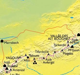 Carte Grande traversée de l'Atlas, des Aït Bougmez au Toubkal