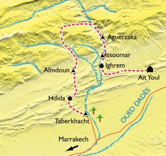 Carte Vallée des Roses et des kasbahs