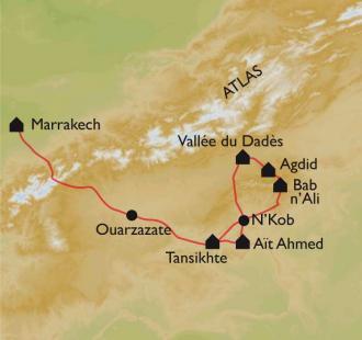Carte Maroc, vallées des Roses et Djebel Saghro à VTT
