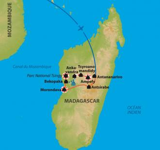 Carte Lalangasy, de la montagne à l'océan