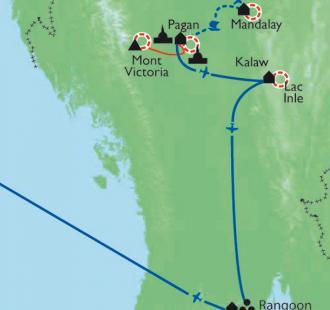 Carte Des montagnes birmanes au Lac Inlé