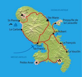 Carte Randonnées et baignades en Martinique et Dominique