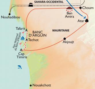 Carte Banc d'Arguin, entre Sahara et Atlantique