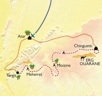Carte De Chinguetti à l'oasis de Tergit