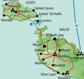 Carte Malte, Gozo et Comino, 3 îles au coeur de la Méditerranée