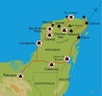 Carte Les merveilles du Yucatan