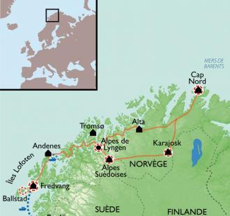 Carte Cap Nord et Laponie